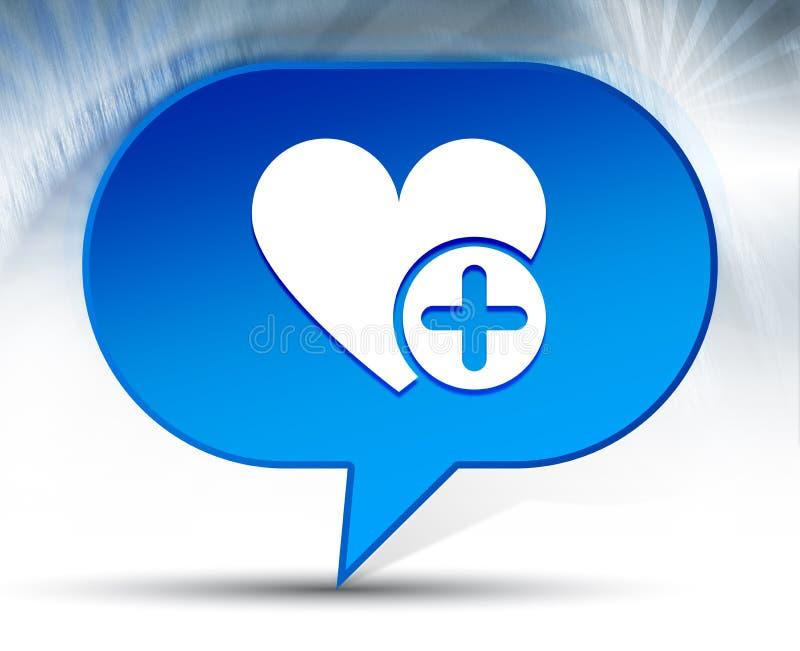 Aggiunga il fondo blu della bolla dell'icona favorita del cuore illustrazione vettoriale
