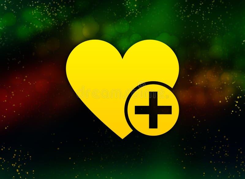Aggiunga il fondo scuro del cuore dell'icona del bokeh favorito dell'estratto royalty illustrazione gratis