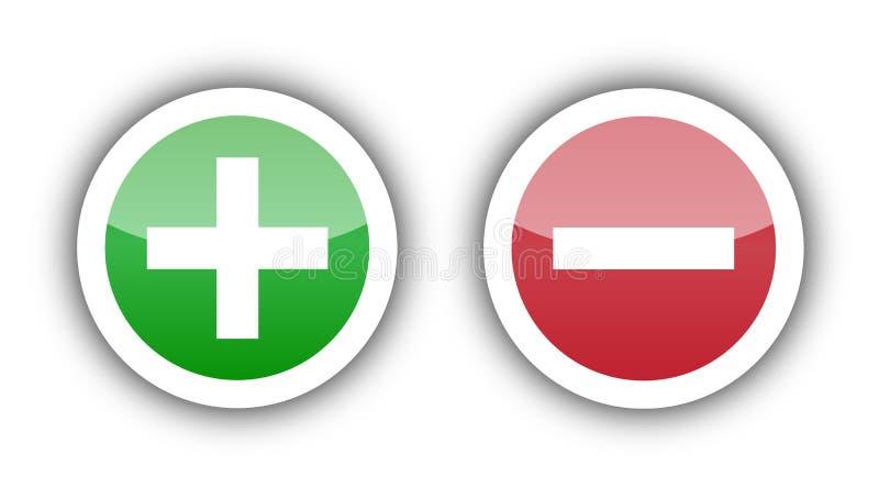 Aggiunga il segno e cancelli il segno illustrazione vettoriale