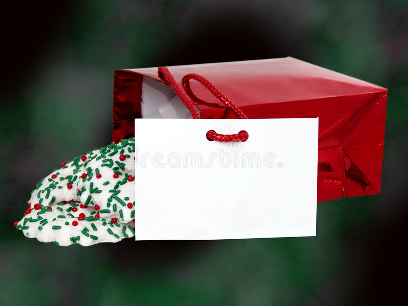 Aggiunga il testo a questo sacchetto dei biscotti immagine stock