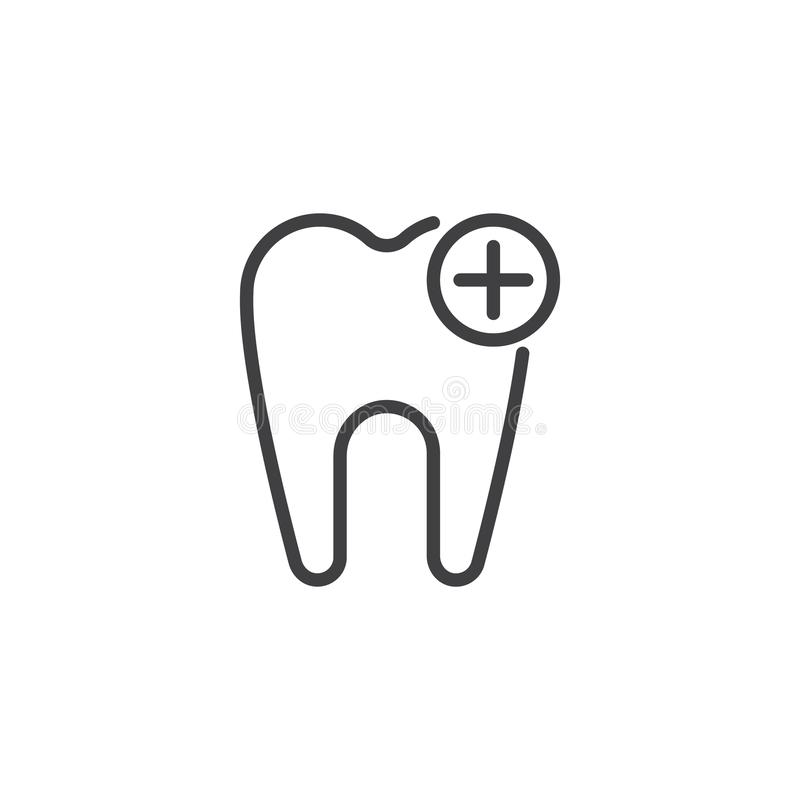 Aggiunga l'icona del profilo del dente illustrazione vettoriale