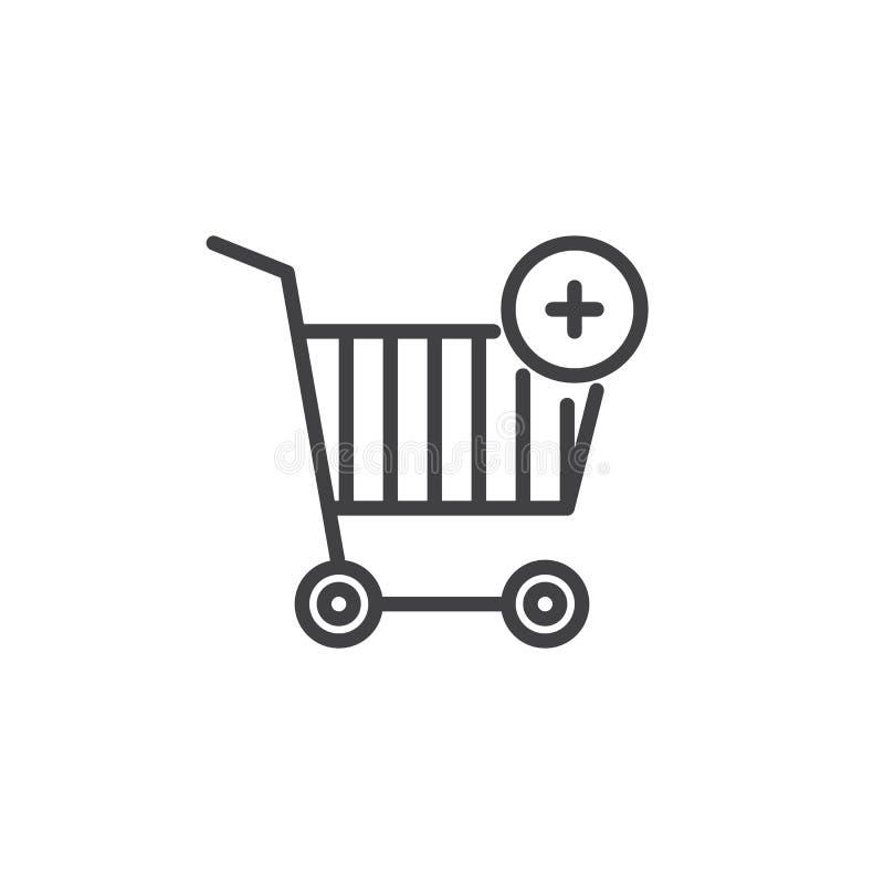 Aggiunga la linea icona del carrello illustrazione di stock