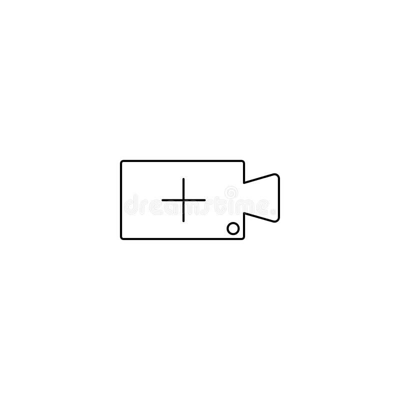 Aggiunga la video linea l'icona, il segno di vettore del profilo, pittogramma lineare di stile isolato su bianco Macchina fotogra illustrazione vettoriale