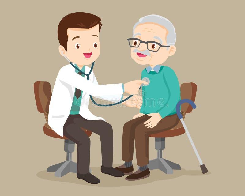 Aggiusti ascoltare il petto del paziente con lo stetoscopio illustrazione di stock