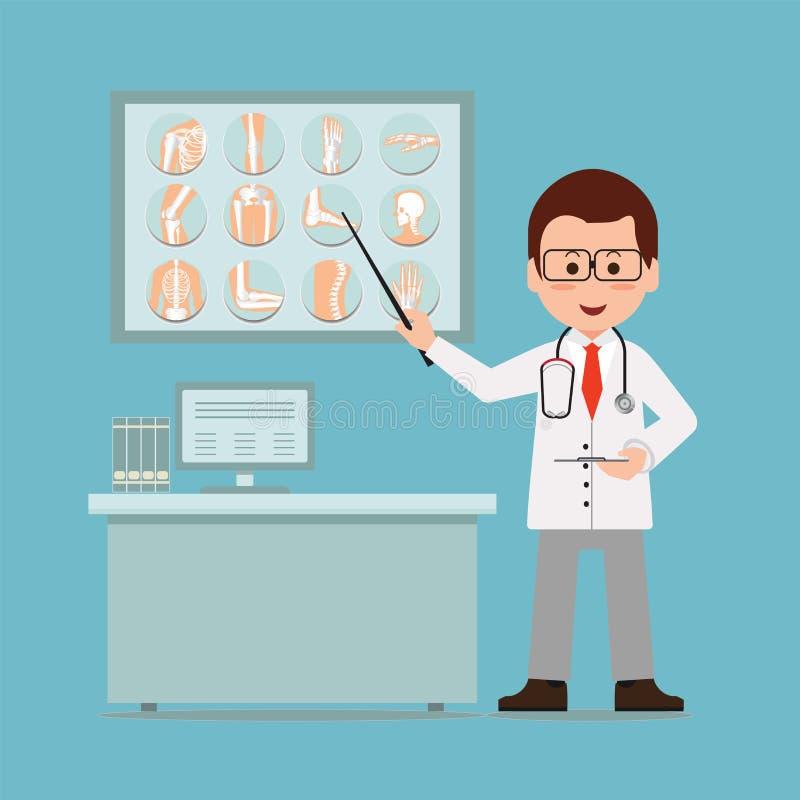 Aggiusti il controllo ed indicare alle ossa rotte della lastra radioscopica illustrazione di stock