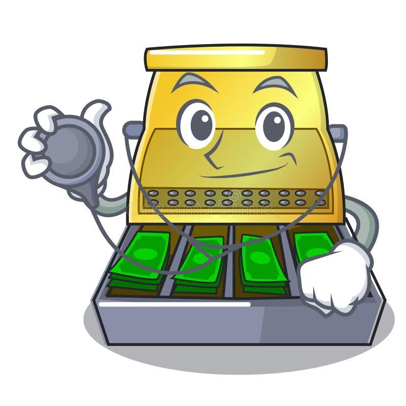 Aggiusti il registratore di cassa elettronico isolato su un fumetto illustrazione vettoriale