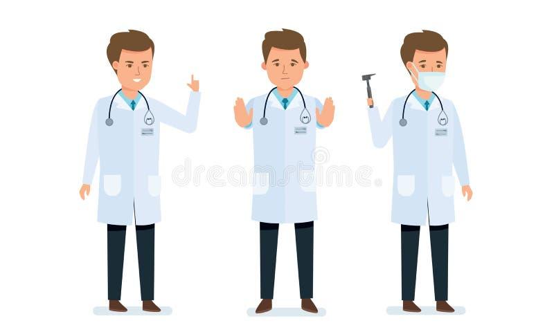 Aggiusti la consultazione del ` s, la prevenzione, il trattamento, la ricerca paziente, medico che i gesti calma, che aiuta illustrazione vettoriale