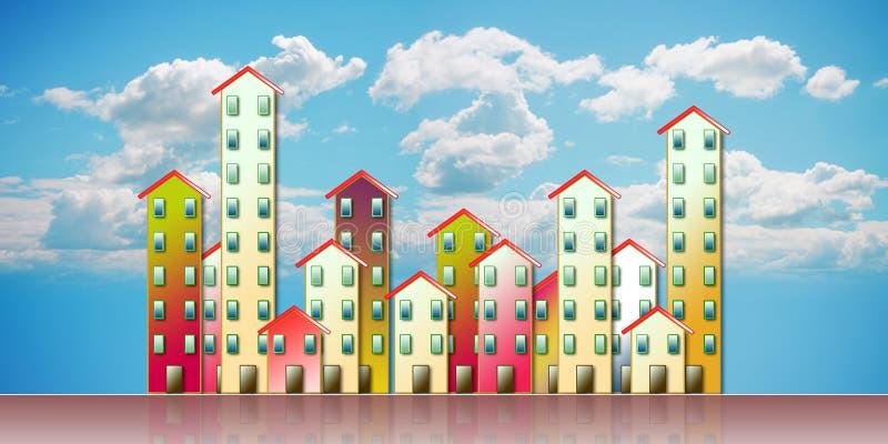 Agglomération urbaine colorée d'une banlieue - illustration a de concept photo stock