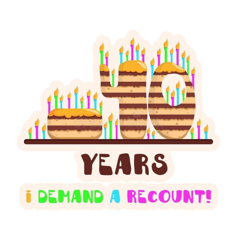Agglutini 40 anni, le candele, la festa, il compleanno, dolce con la crema del caramello, contante i giorni, congratulazioni per  fotografia stock