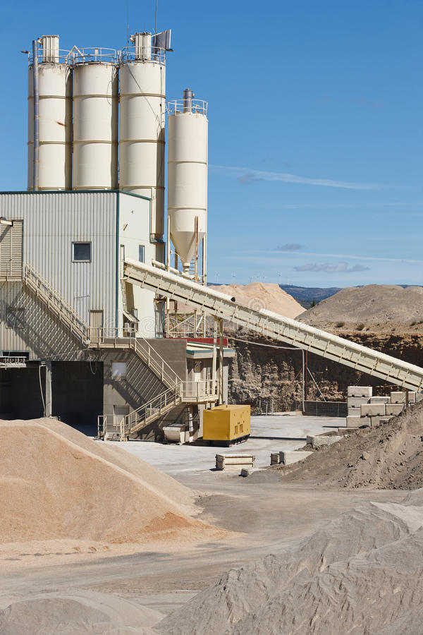 Aggregates plant factory. Gravel manufacturing. Quarry machinery. Spain. Vertical stock photos