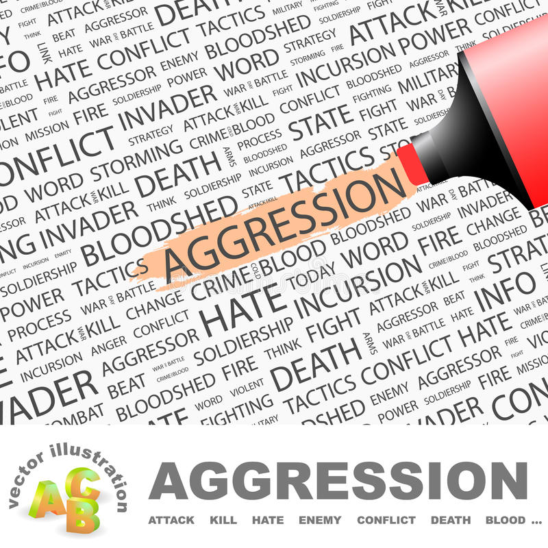 AGGRESSION. Concept illustration. Graphic tag collection. Wordcloud collage royalty free illustration