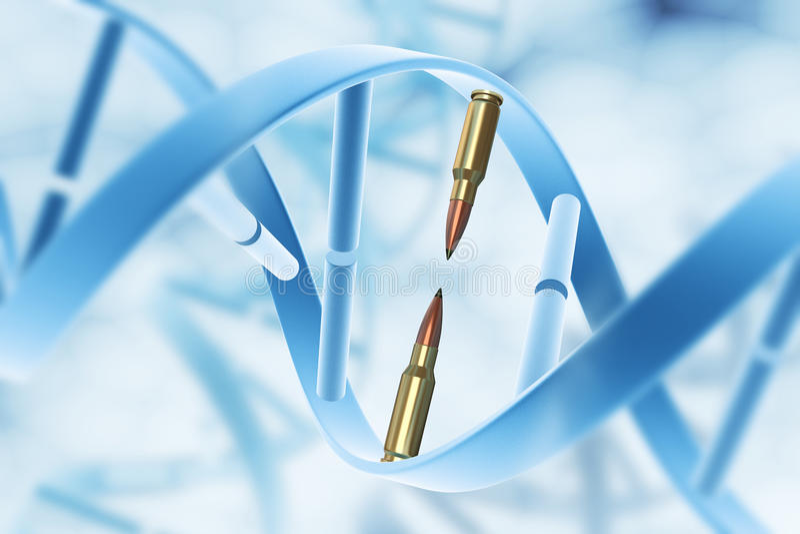 Aggression and destruction gene. Concept.Aggression and destruction gene stock illustration