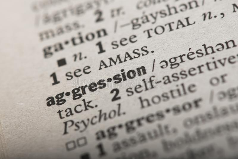 Aggression in a Dictionary royalty free stock image