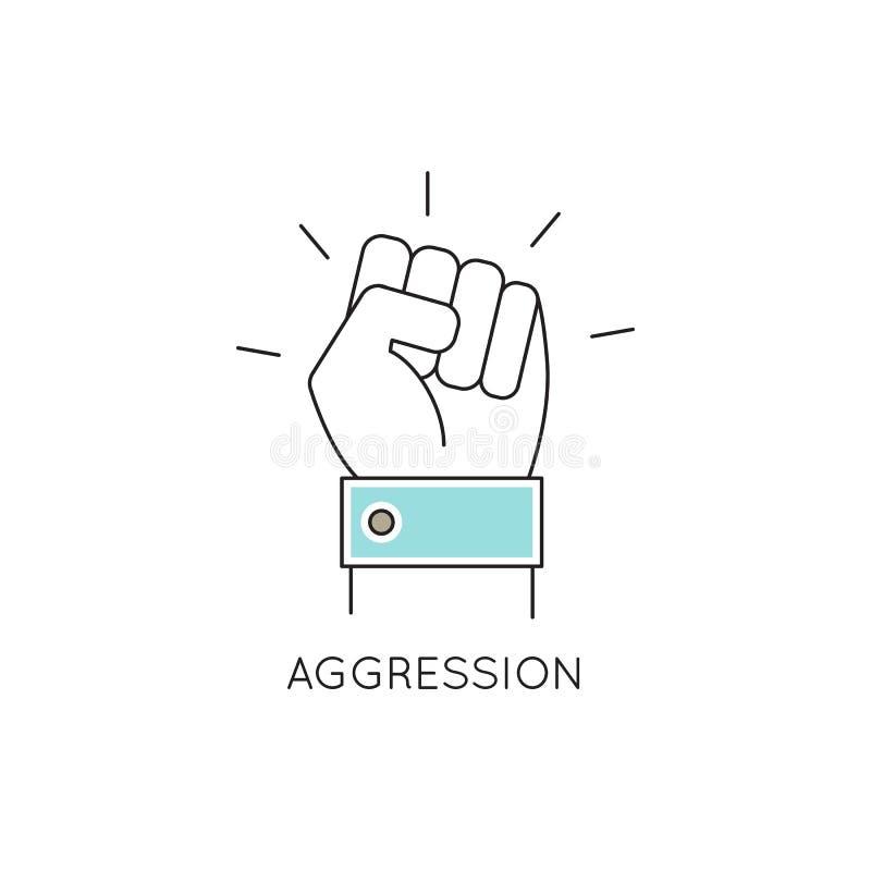 Aggression line icon vector illustration