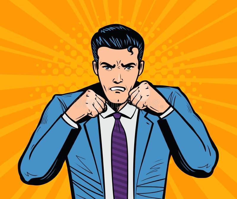 Aggressiv affärsman eller toppen hjälte med nävar Affärsidé i retro komisk stil för popkonst Tecknad filmvektor stock illustrationer