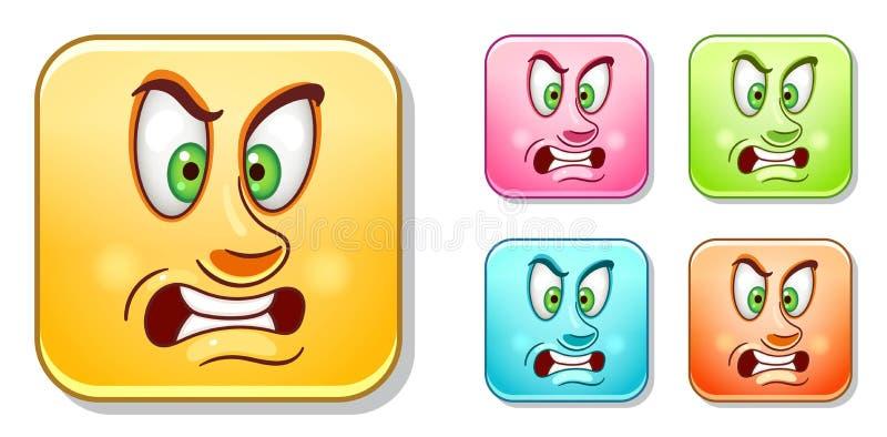 Aggressiv Emoticonssamling royaltyfri illustrationer