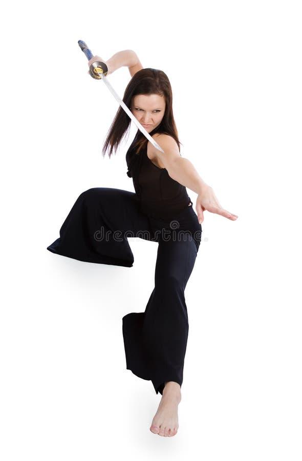 aggressiv härlig ställingsströmbrytare-kvinna royaltyfri bild
