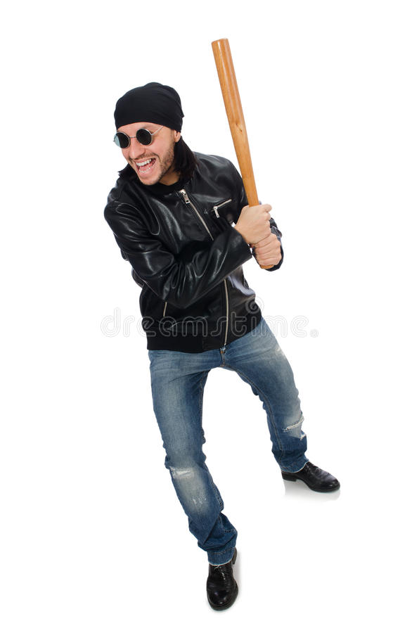 Aggressiv man med baseballslagträet royaltyfria bilder