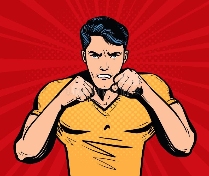 Aggressiv och ilsken man med nävar Kämpe kampklubbabegrepp den främmande tecknad filmkatten flyr illustrationtakvektorn stock illustrationer