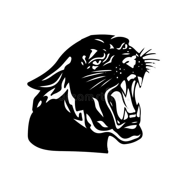 Aggressiv svart panter med den öppna munnen, kontur på vita lodisar stock illustrationer