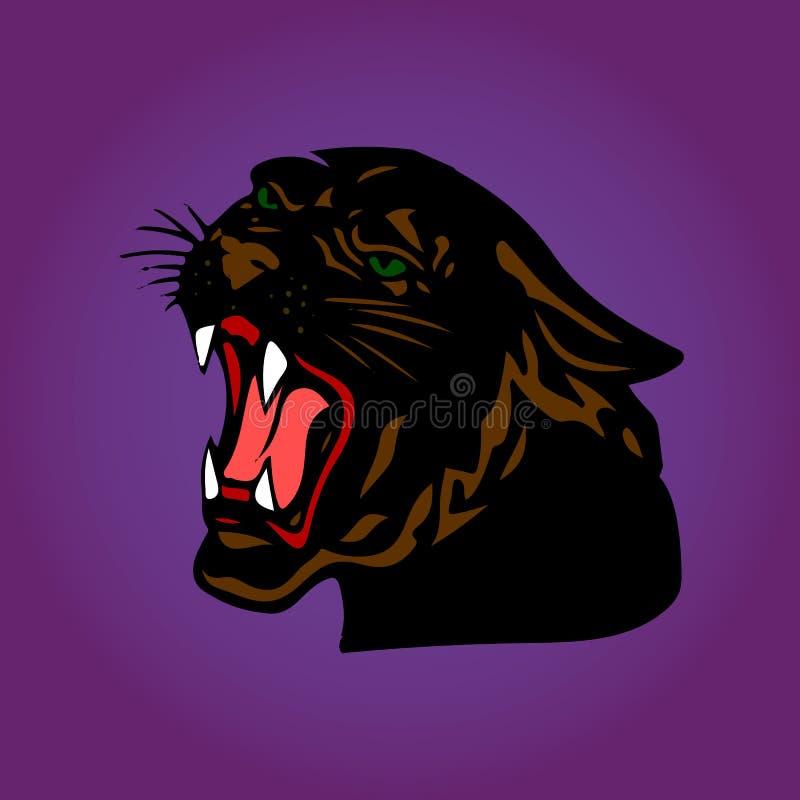 Aggressiv svart panter med den öppna munnen, tecknad film på purpurfärgade lodisar vektor illustrationer