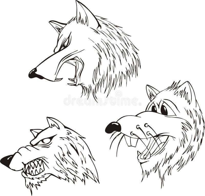 Aggressiva varghuvud royaltyfri illustrationer