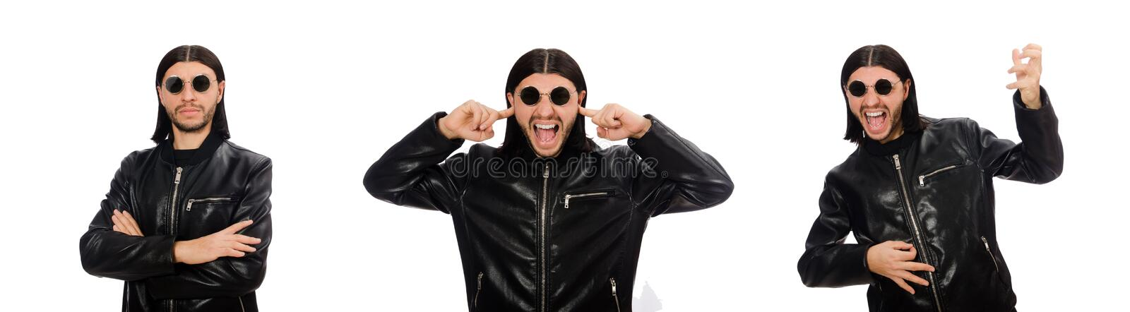 Aggressive angry man isolated on white stock images