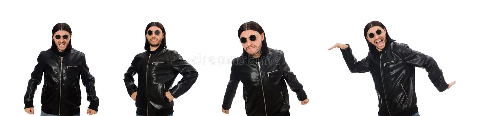 Aggressive angry man isolated on white royalty free stock images