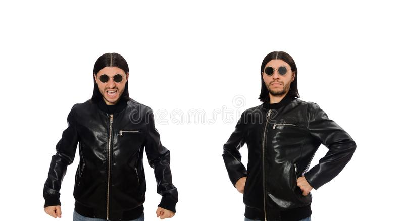 Aggressive angry man isolated on white royalty free stock image