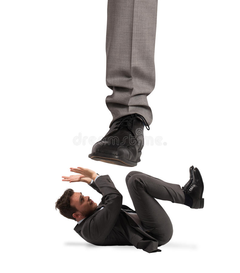 Aggressive boss .Mobbing concept. Aggressive boss with his scared employee. Mobbing concept royalty free stock photo