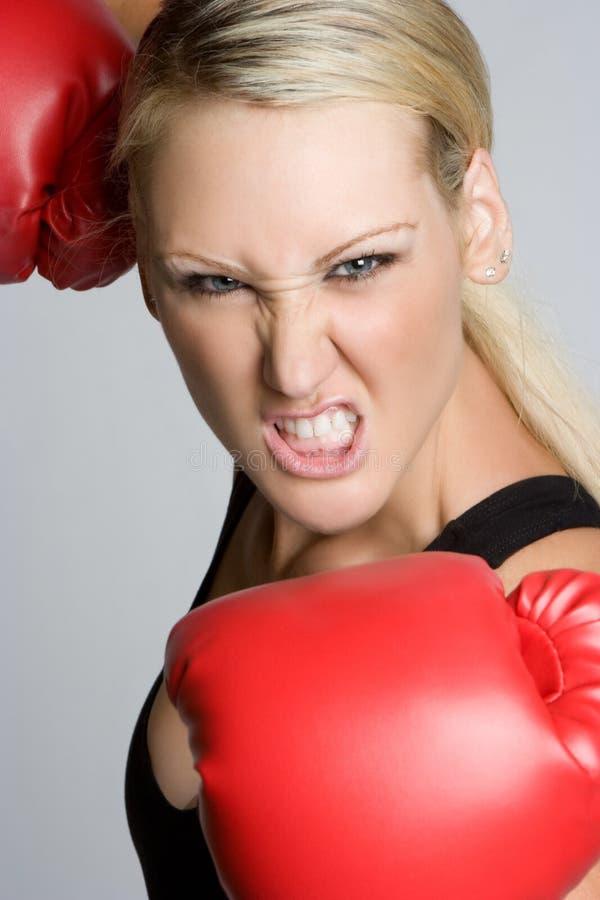 Aggressive Boxing Woman
