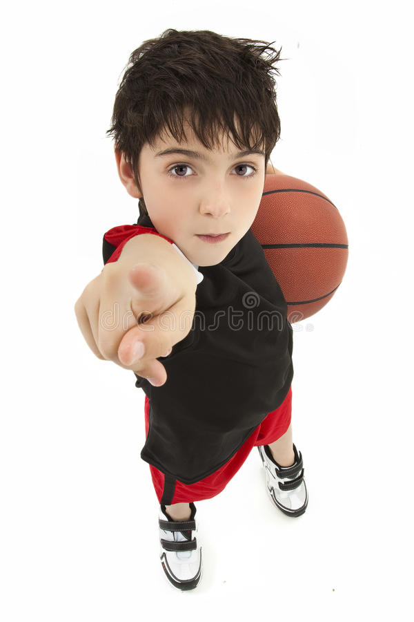 Aggressive Boy Child Basketball Player Close Up royalty free stock photography