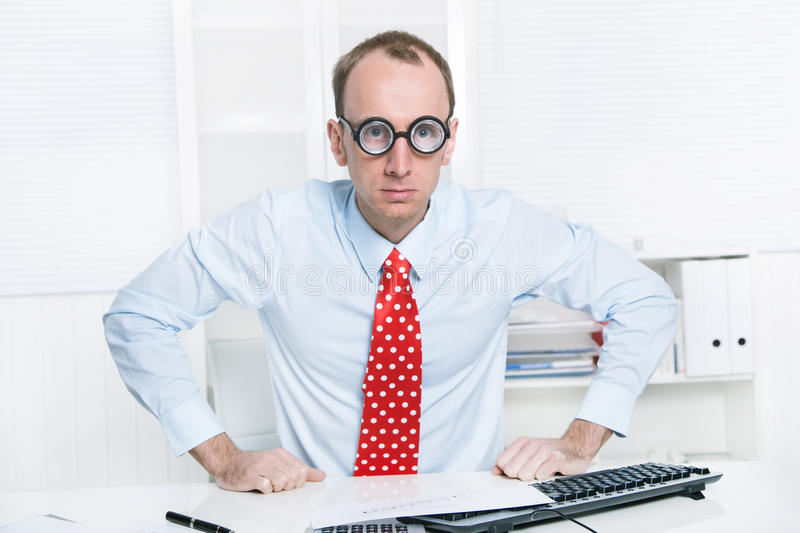 Download Aggressive Businessman With A Red Tie And A Blue Shirt Leave His Stock Photo - Image: 35280134