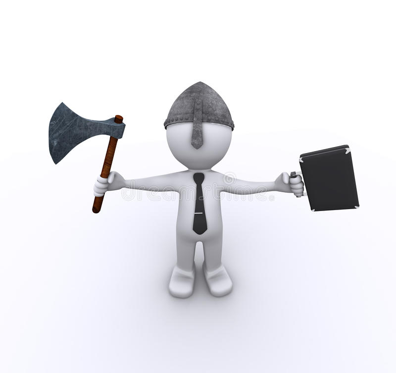 Download Aggressive Corporate Worker With Axe And Case Stock Illustration - Image: 17021486