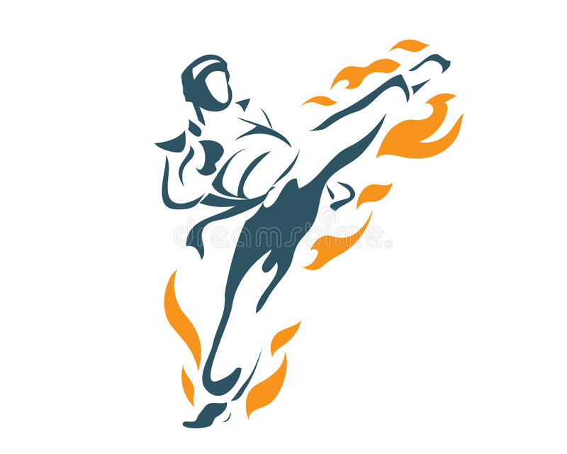 Aggressive Deadly Flying Front Kick Flame Taekwondo Athlete In Action Logo vector illustration