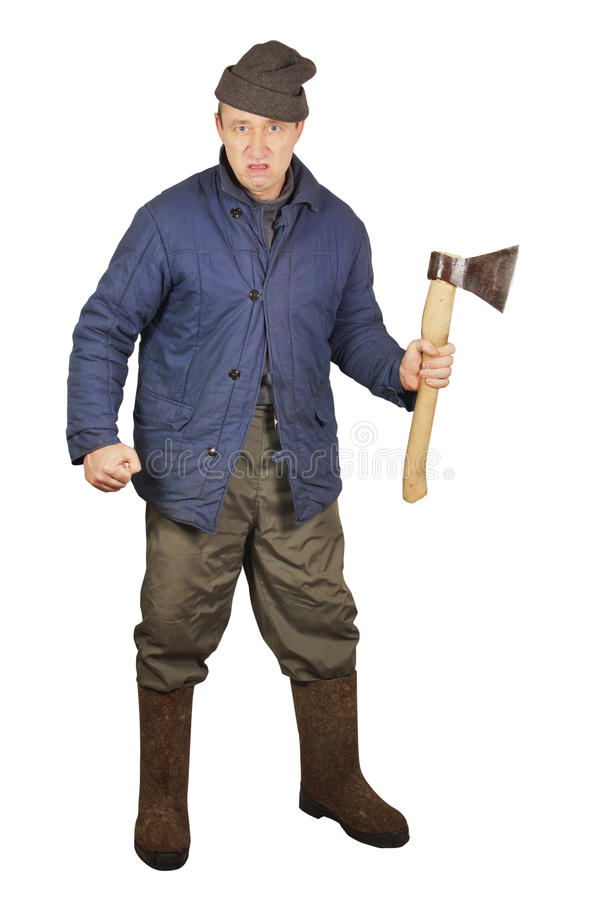 Aggressive enraged man with an axe. Over white background stock images