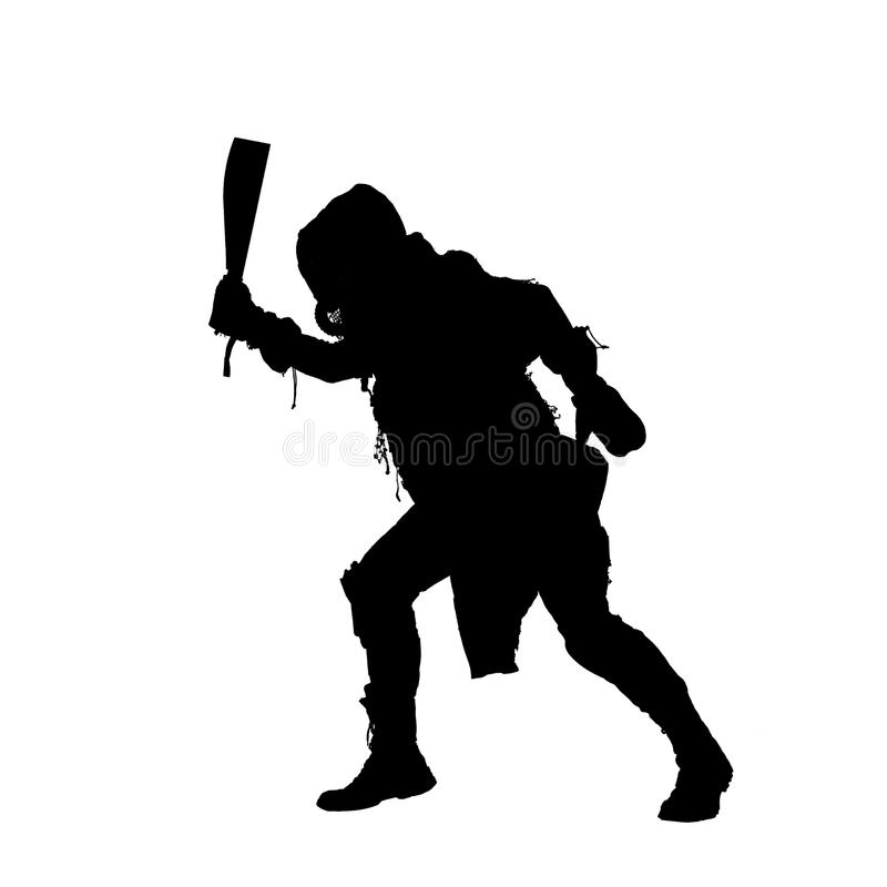 Post apocalyptic human threatening with cane knife. Aggressive and evil humanoid monster or creature of post apocalyptic, poisoned by dangerous pollution world stock photos
