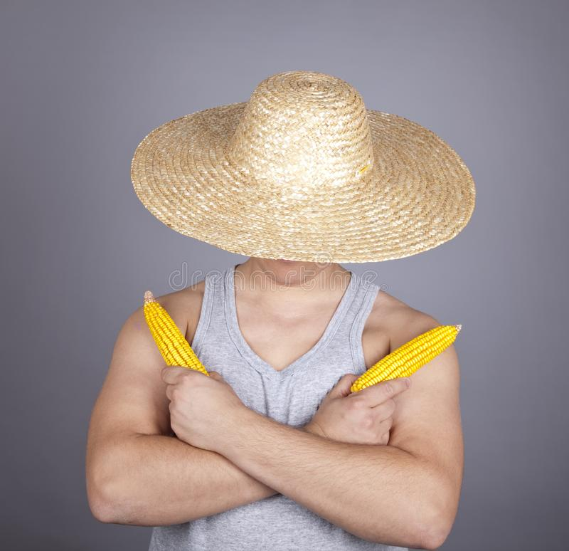 Download Aggressive Farmer Show Two Corns. Stock Image - Image of dissatisfied, adult: 16639955