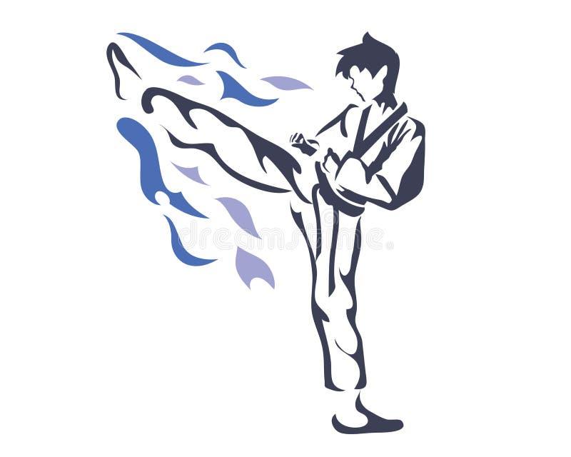 Aggressive Female Taekwondo Athlete In Action Logo royalty free illustration