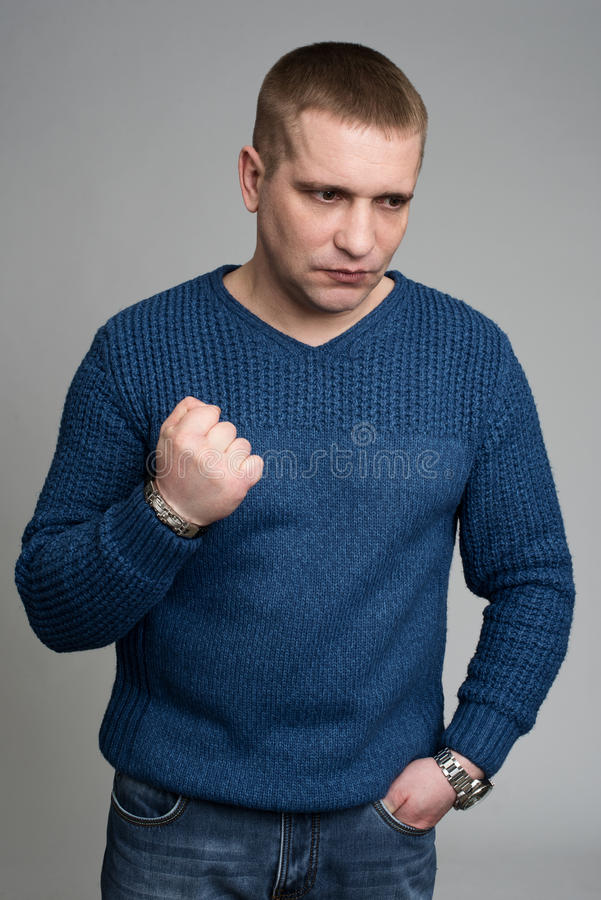 Aggressive, frustrated portrait man stock photography