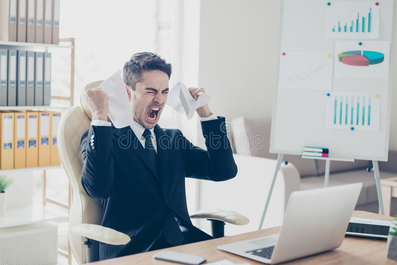 Aggressive irritated despair nervous fury people overworking tiredness workpaper person concept. Portrait of sad upset yelling sc. Reaming unsatisfied agent royalty free stock image