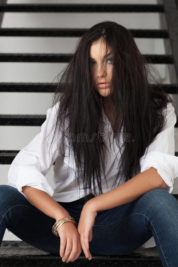 Aggressive beauty. Aggressive looking beauty in casual clothes stock photo