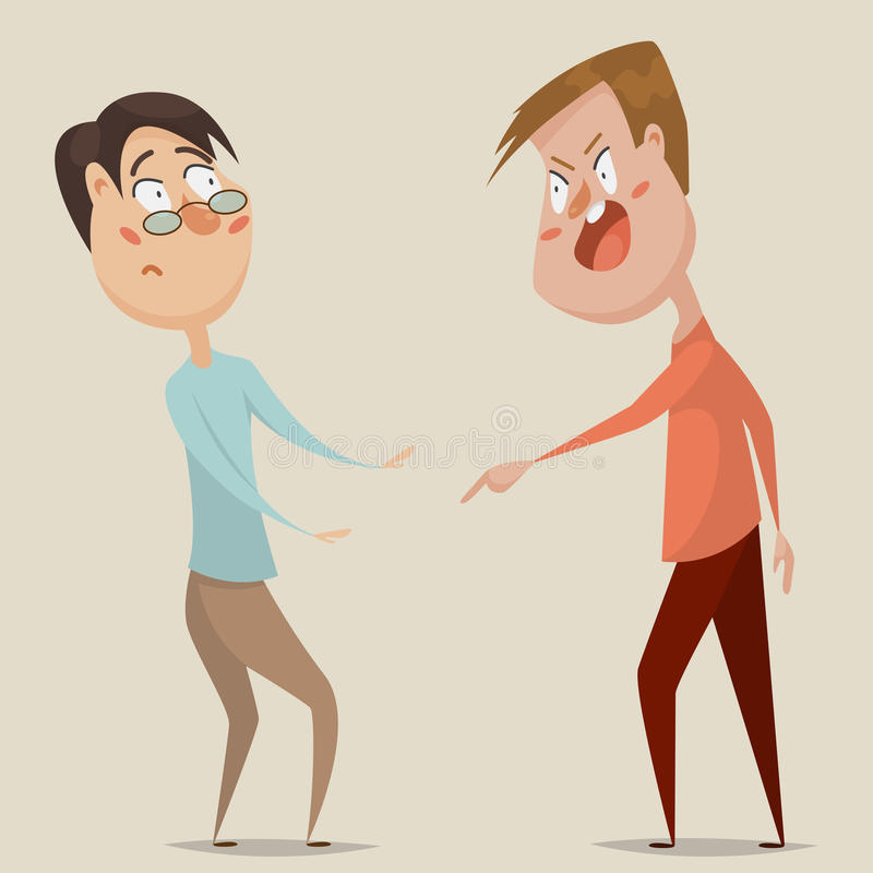 Aggressive man threats and shouts on frightened man in anger. Emotional concept of aggression, tyranny and despotism. Cartoon characters. Vector illustration vector illustration