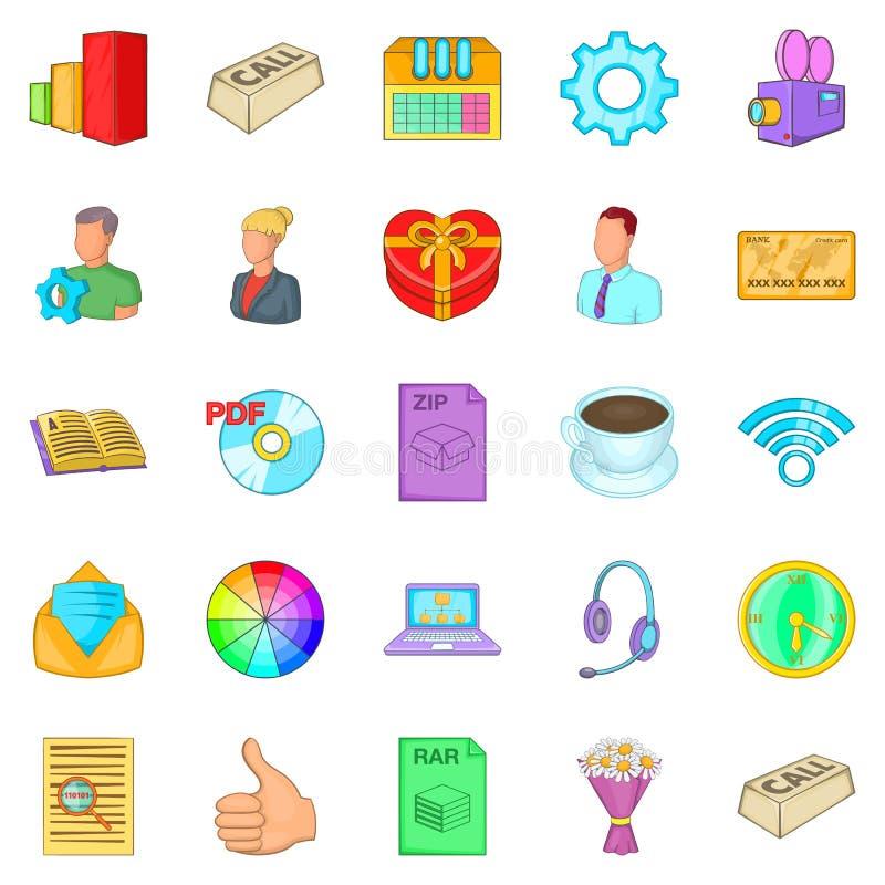 Aggressive marketing icons set, cartoon style stock illustration