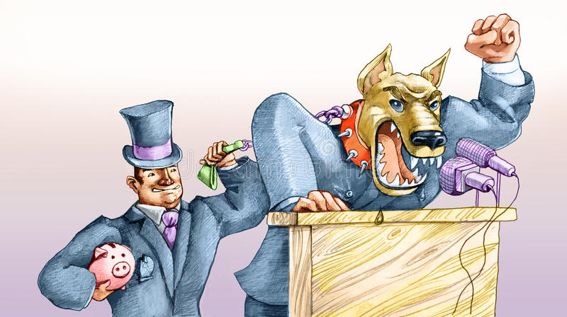 Aggressive political. A political growls like a dog on a leash by a capitalist moneybags stock illustration