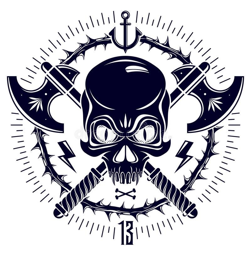 Aggressive skull pirate emblem Jolly Roger with weapons and other design elements. stock illustration