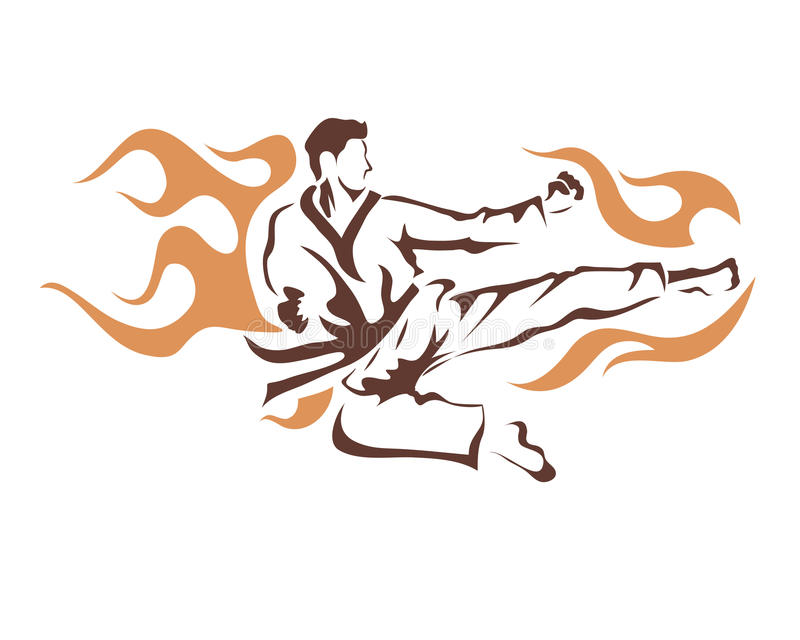 Aggressives Fliegen-lodernder Tritt-Taekwondo-Athlet In Action Logo lizenzfreie abbildung