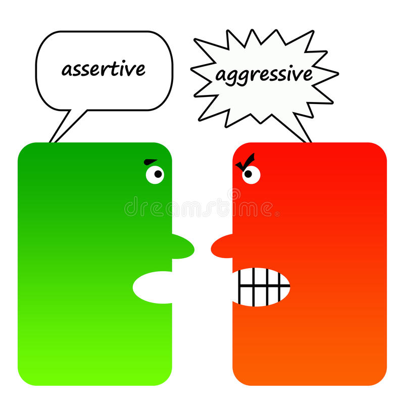 aggressivt självsäkert kontra vektor illustrationer