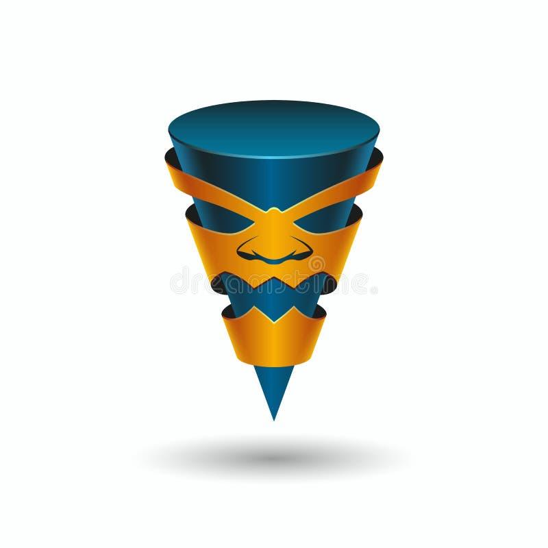 Aggressivt tecken i maskeringen, logomall Ilsken pekare för avsmalning 3D med en framsida royaltyfri illustrationer
