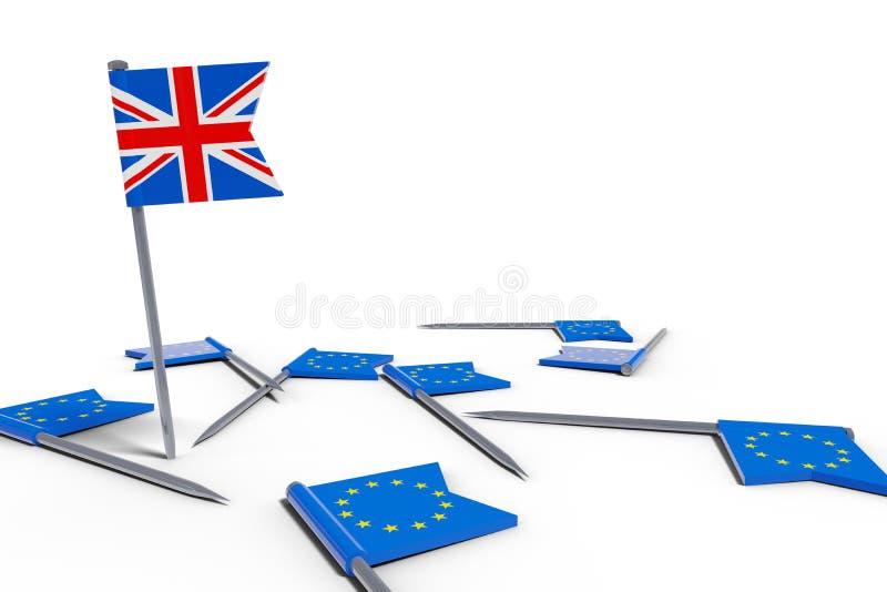 aghi con le bandiere di Europa ed il simbolismo britannico di caos del brexit della bandiera illustrazione vettoriale